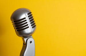 retro mic yellow